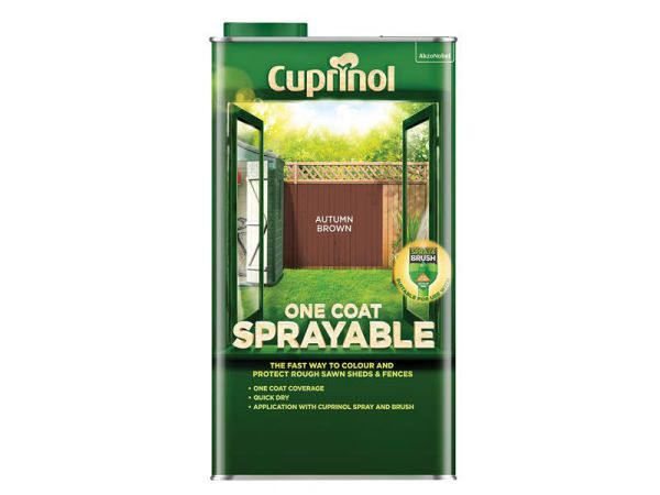 Cuprinol One Coat Sprayable Fence Treatment Autumn Brown 5 litre 5355968
