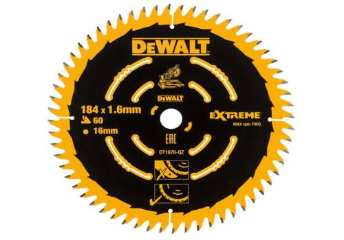 DEWALT Cordless Mitre Saw Blade For DCS365 184 x 16mm x 60T Fine DT1670-QZ