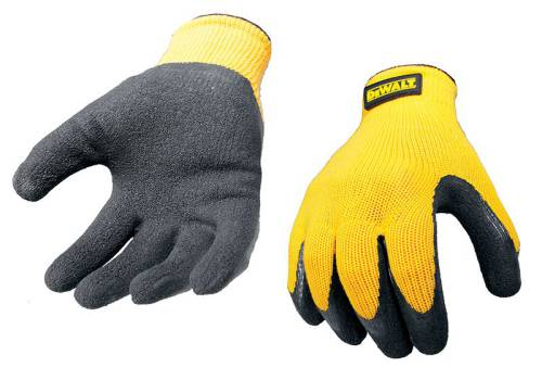 DeWalt Yellow Knit Back Latex Gloves