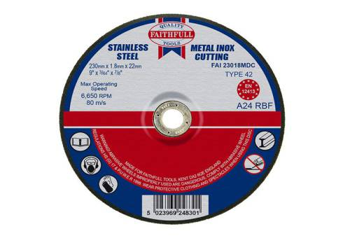 Faithfull Cut Off Disc for Metal Depressed Centre 230 x 1.8 x 22mm