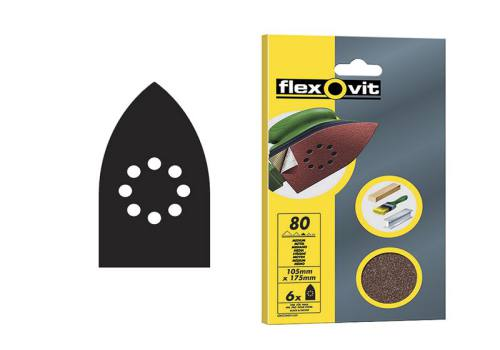 Flexovit Detail Hook & Loop Sanding Sheets 105mm x 175 mm Fine 120g (6)
