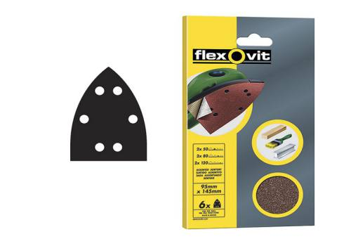 Flexovit Detail Hook & Loop Sanding Sheets 95mm x 145 mm Fine 120g (6)