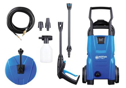 Kew Nilfisk Alto C110.7-5 PCD X-TRA Pressure Washer with Patio, Drain & Tube Cleaner 110 bar 240V 128471004
