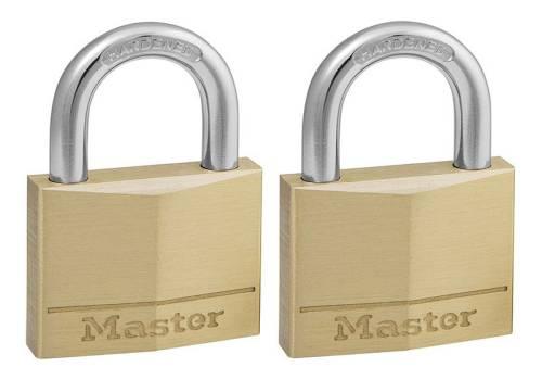 Master Lock Solid Brass 40mm Padlock 4-Pin Keyed Alike x 2 MLK140T