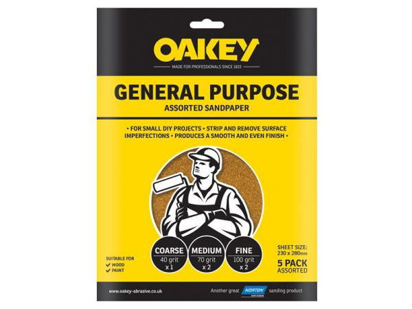 Oakey Glasspaper Sheets Medium Pack 5 63642558289