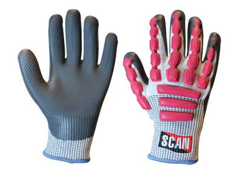 Scan Anti-Impact Latex Cut 5 Gloves - Large (Size 9) T5000