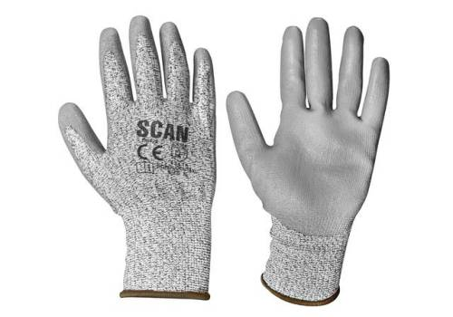 Scan Grey PU Coated Cut 3 Gloves - Extra Large (Size 10) H3101-3