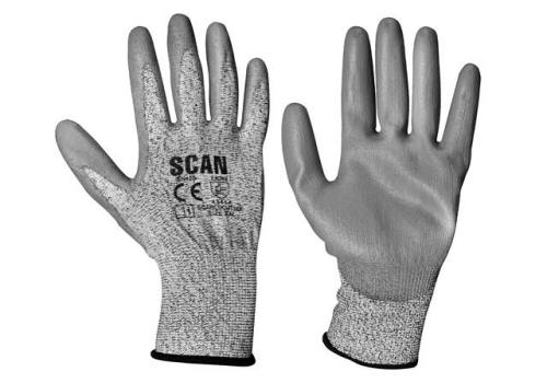 Scan Grey PU Coated Cut 3 Gloves - Extra Extra Large (Size 11) H3101-3