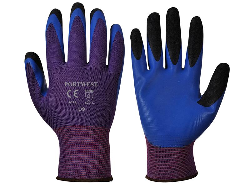 Portwest A175 Red/Blue Duo Flex Gloves - Large (Size 9) A175R4RL