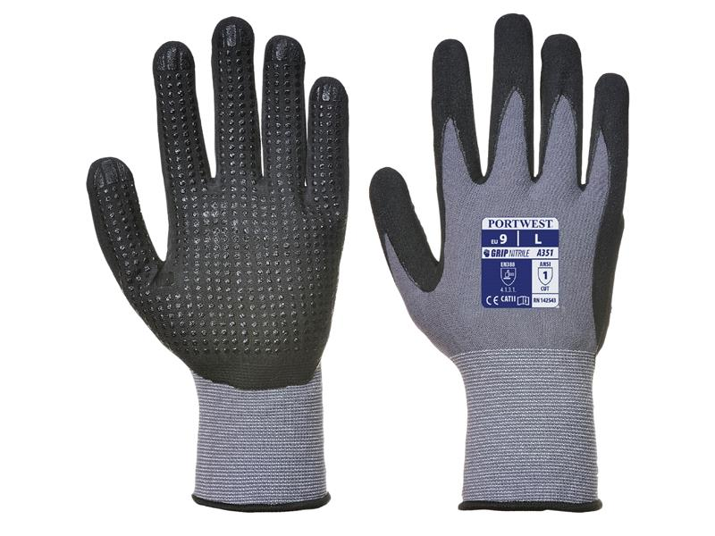 Portwest A351 Grey Black Dermi Flex Plus Glove L