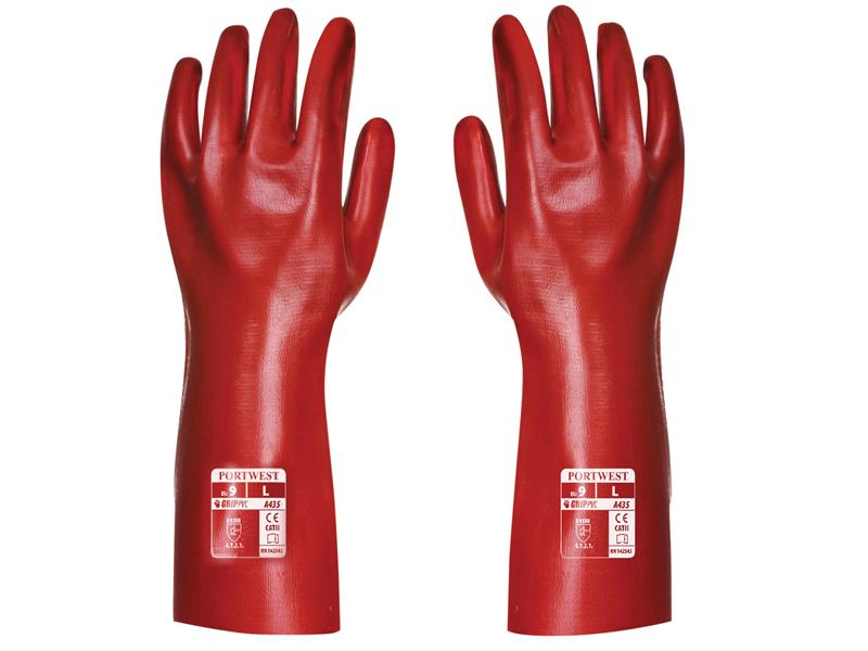 Portwest A435 Red PVC Gauntlets 35cm - Extra Large (Size 10) A435RERXL