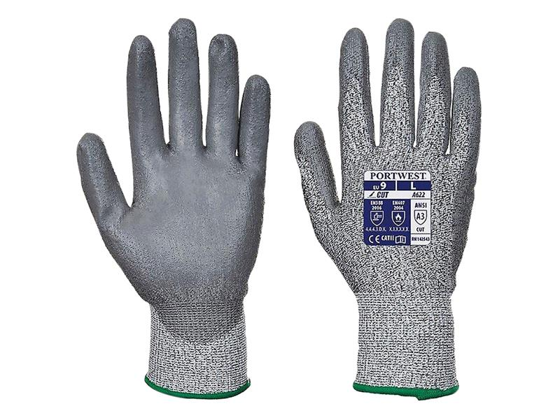 Portwest A622 Mr Cut Pu Palm Glove Grey Size L A622G7RL