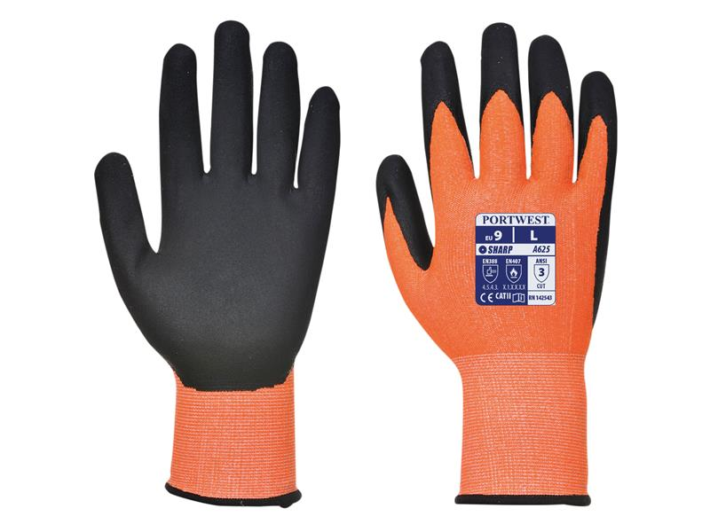 Portwest A625 Orange/Black Cut Resistant Gloves - Large (Size 9)