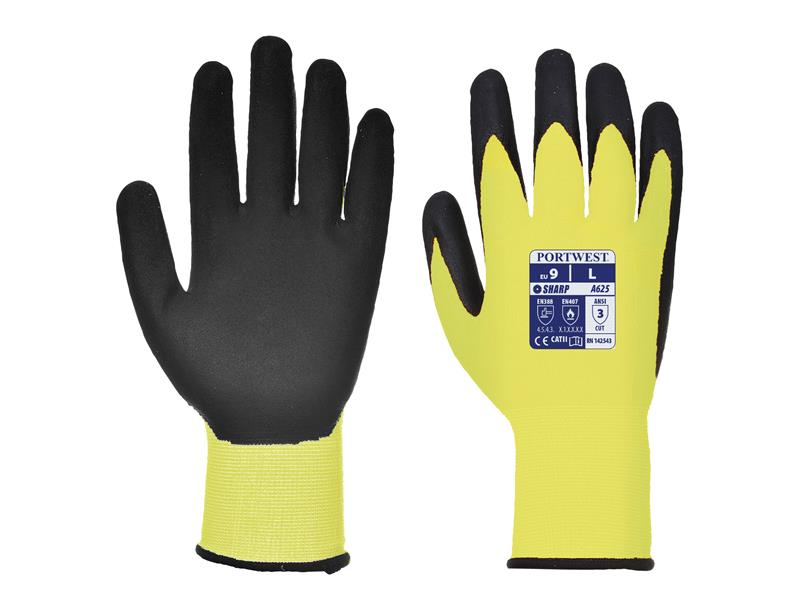 Portwest A625 Yellow/Black Cut Resistant Gloves - Large (Size 9)