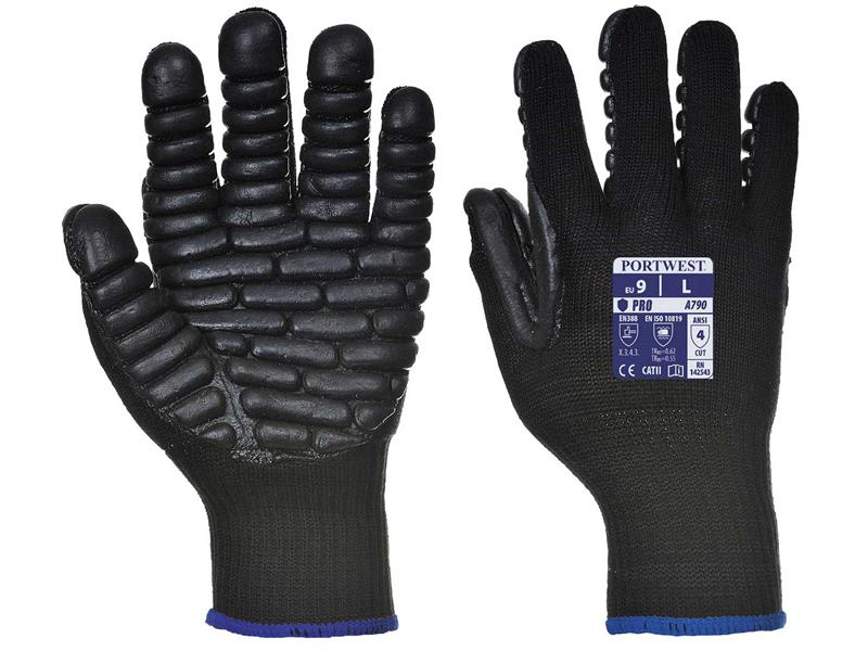 Portwest A790 Black Anti-Vibration Gloves - Large (Size 9) A790BKRL