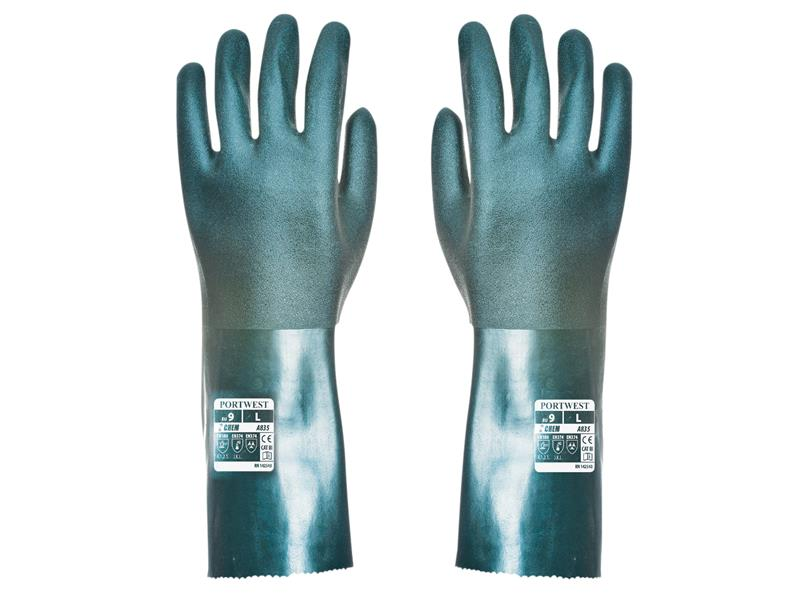 Portwest A835 Green Double Dipped PVC Gauntlets 35cm - Extra Large (Size 10) A835GNRXL