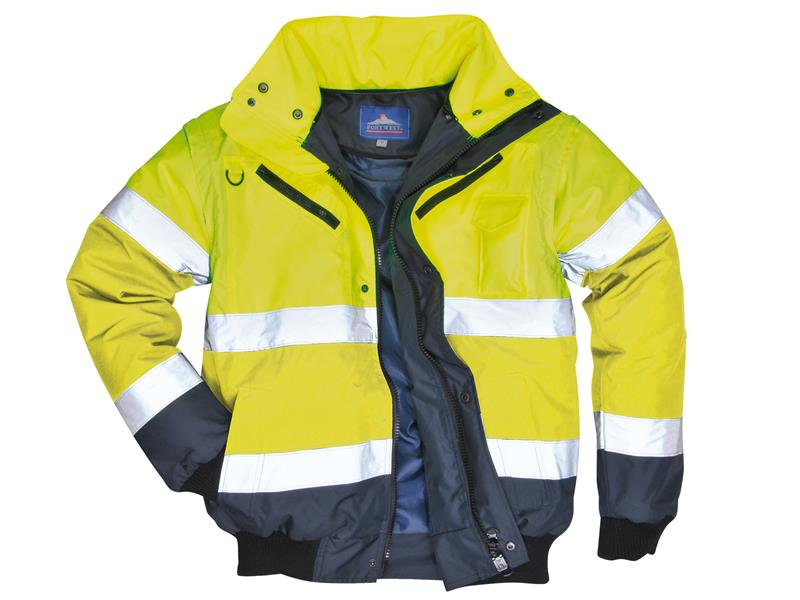 Portwest C465 Hi-Vis Yellow/Navy 3-in-1 Bomber Jacket - XL C465YNRXL
