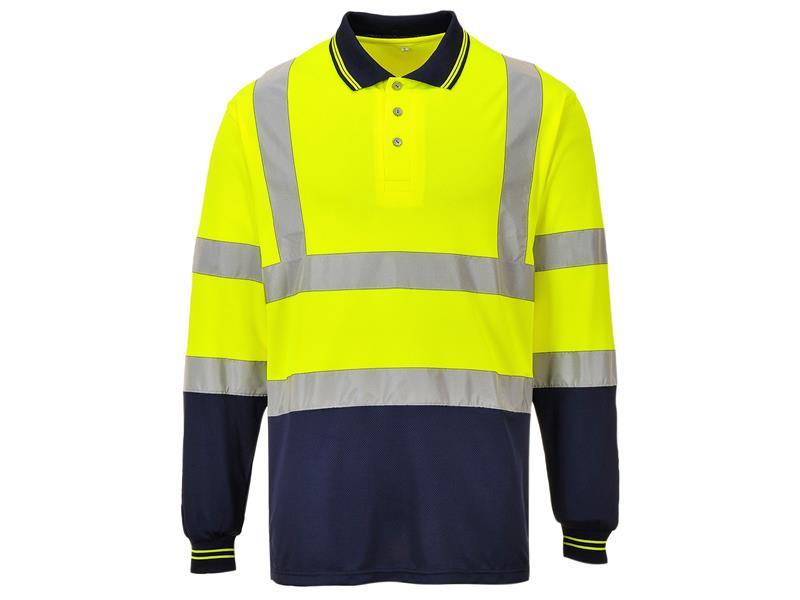Portwest S279 Two Tone Yellow/Navy Long Sleeved Polo Shirt - S