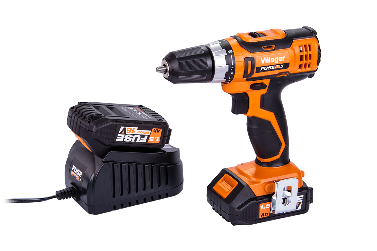 Villager Fuse Cordless Drill Driver VLN3220 with 1 x 1.5Ah Battery and Charger