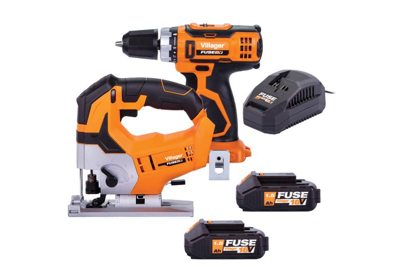 Villager Fuse Cordless 18V Twin Pack Drill & Jigsaw Set 2 x 1.5Ah Batteries 66252