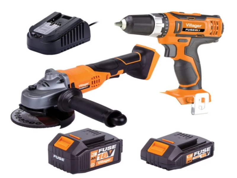 Villager Fuse Twin Pack 18v Cordless Drill Driver And Angle Grinder Set VLN60108